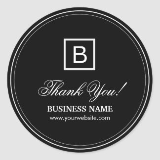 Classy Black Monogram Business Thank You Stickers