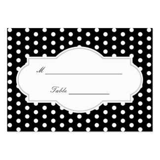 Classy Black Polka Dots Wedding Place Card Large Business Cards (Pack Of 100)