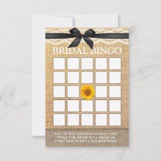 Classy Black Ribbon Sunflower Burlap Bridal Bingo