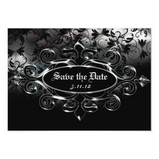 Classy Black Silver Damask Save the Date Wedding A Announcements