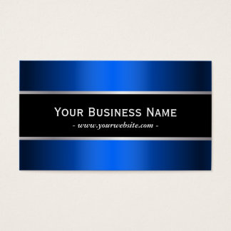 Classy Black Stripe Blue Metal Business Card