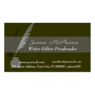 Classy Black Vintage Pen Double-Sided Standard Business Cards (Pack Of 100)