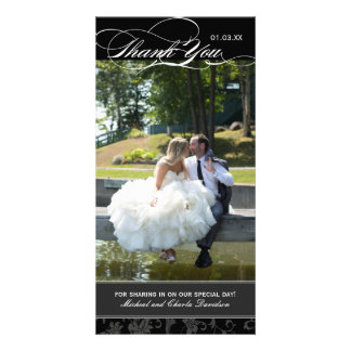 Classy Black Wedding Thank You Photo Card (4x8)