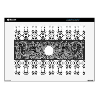 Classy black white Baroque pattern to customise Laptop Decals