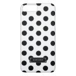 Classy Black White Big Polka Dots Personalized iPhone 7 Plus Case