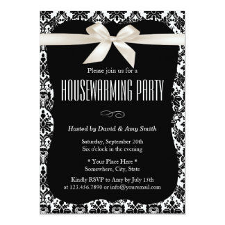 Classy Black & White Damask Housewarming Party 5x7 Paper Invitation Card