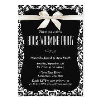 Classy Black & White Damask Housewarming Party Card