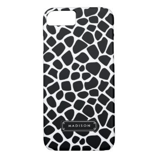 Classy Black White Giraffe Print Personalized iPhone 7 Case