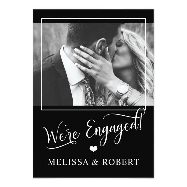 Classy Black White Heart Engagement Party PHOTO Invitation