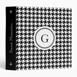 Classy black white houndstooth pattern monogram vinyl binders