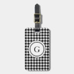 Classy black white houndstooth pattern monogram luggage tag