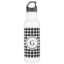 Classy black white houndstooth pattern monogram water bottle