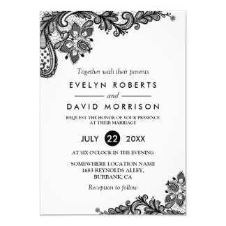 Classy Black White Lace Pattern Formal Wedding Invitation