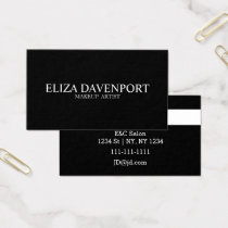 Classy Black White Makeup artist Business Cards