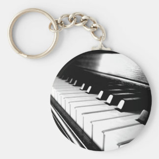 Classy Black & White Piano Photography Basic Round Button Keychain