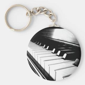 Classy Black & White Piano Photography Keychains