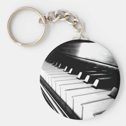 Classy Black & White Piano Photography Keychain
