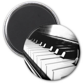 Classy Black & White Piano Photography 2 Inch Round Magnet