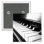 Classy Black & White Piano Photography Pinback Button