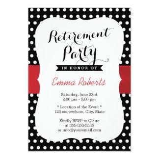 Classy Black & White Polka Dot Retirement Party Invitation