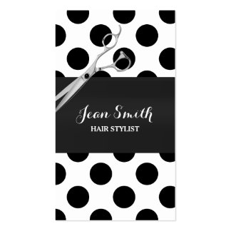 Classy Black & White Polka Dots Hair Stylist Business Card
