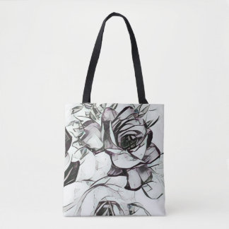 Classy Black White Rose With Touch Of Lavender Tote Bag