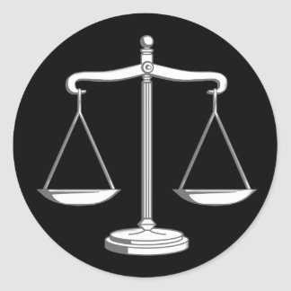 Classy Black & White Scales of Justice | Law Gifts Classic Round Sticker