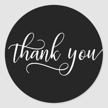 Professional Business Classy Black White Script Calligraphy Thank You Classic Round Sticker