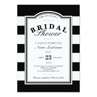 Classy Black White Striped Bridal Shower Invite