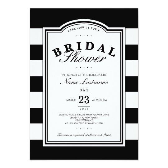 b52d776a68438 Classy Black White Striped Bridal Shower Invite