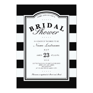 """Classy Black White Striped Bridal Shower Invite 5"""" X 7"""" Invitation Card"""