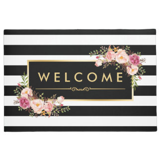 Classy Black White Stripes Beautiful Floral Decor Doormat