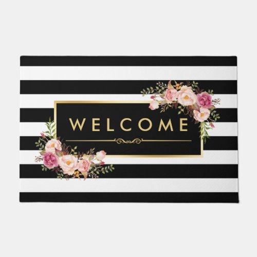 Classy Black White Stripes Beautiful Floral Decor Doormat