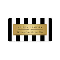 Classy Black White Stripes Bold Gold Label