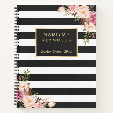 Classy Black White Stripes Floral Personal Notes Notebook