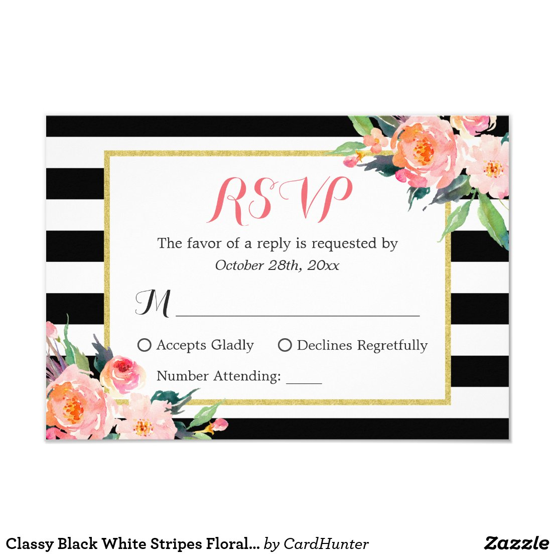 Classy Black White Stripes Floral RSVP Reply Card