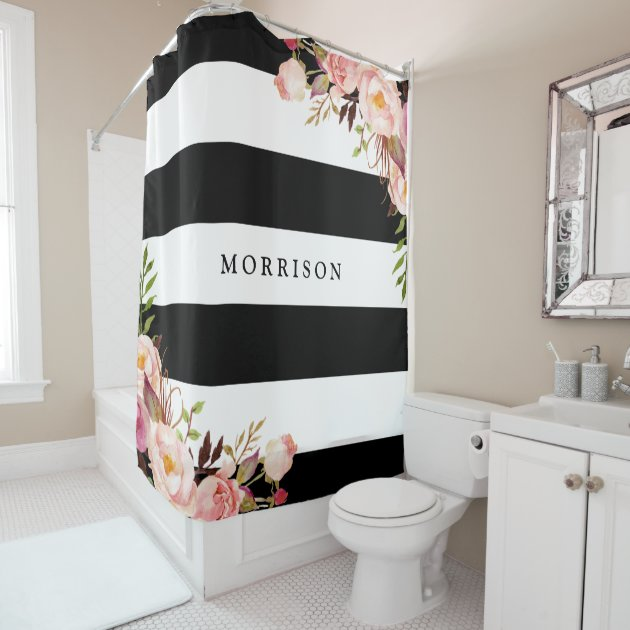 Classy Shower Curtain black and white floral shower curtain