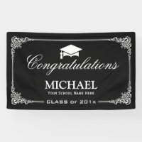 Classy Black White Vintage Frame Graduation Party Banner