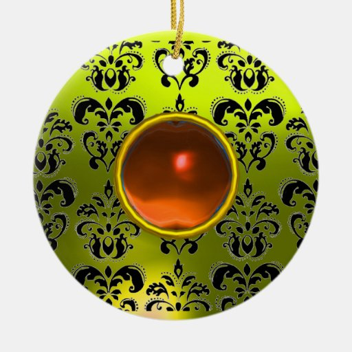 CLASSY BLACK YELLOW DAMASK GEM STONE Double-Sided CERAMIC ROUND CHRISTMAS ORNAMENT