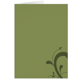 Classy Blank Olive Green with Flourish Note Card