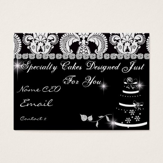 Classy Bling BAKERY Business Card Damask Design