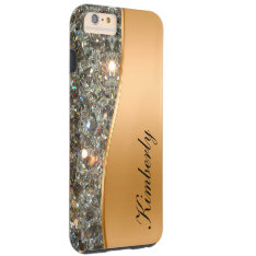 Classy Bling Monogram Iphone 6 Plus Case at Zazzle