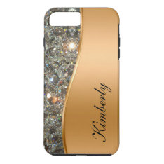 Classy Bling Monogram Iphone 7 Plus Case at Zazzle