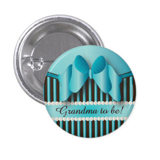 Classy Blue and Brown Stripes Pinback Button