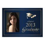 """Classy Blue and Gold 2013 Graduate Photo Invite 5"""" X 7"""" Invitation Card"""