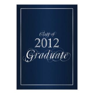 Classy Blue and Silver 2012 Graduate Invitation