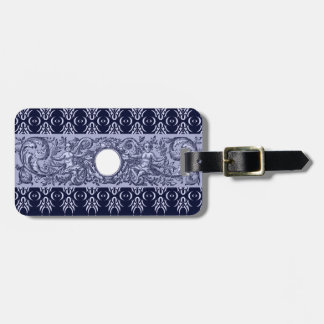 Classy Blue Baroque Pattern by LeahG - cherubs Luggage Tags