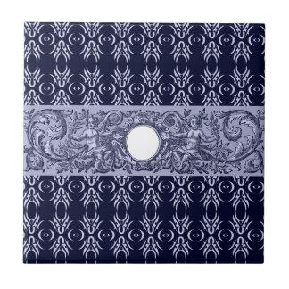Classy Blue Baroque Pattern by LeahG - cherubs Ceramic Tiles