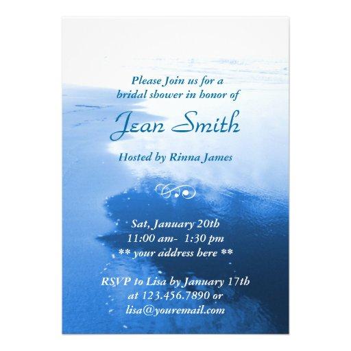 Classy Blue Beach Seaside Bridal Shower Invitation