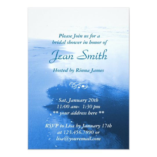 Classy Blue Beach Seaside Bridal Shower Invitation